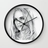 cara delevingne Wall Clocks featuring Cara Delevingne by sesven
