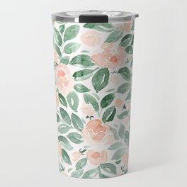 """Loose watercolor florals, """"Miriam"""" Travel Mug"""