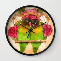 valentines Wall Clocks featuring Valentines  by Georgia Roberts