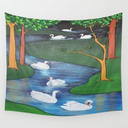 A Flock of Seven Swans-A-Swimming Wall Tapestry