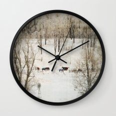 Horses in the Winter Wall Clock