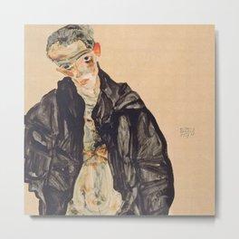 "Egon Schiele ""Selbstbildnis als Halbakt in schwarzer Jacke (Self-portrait in a black jack)"" Metal Print"