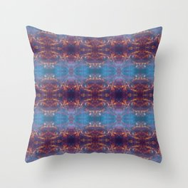 Purple and Blue Batik Design 014 Throw Pillow