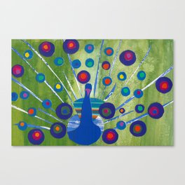 Polka dot peacock Canvas Print
