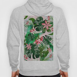 Tropical palm leaf with red flowers Hoody