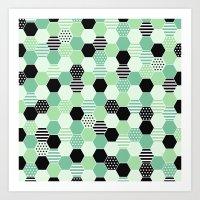 hexagon green Art Print