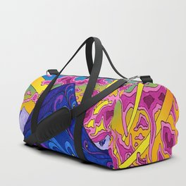 psychedelic colorful lines nature mountain trees snowy peak moon sun rays hill road artwork star sky Duffle Bag