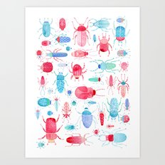 Watercolor Beetles Art Print