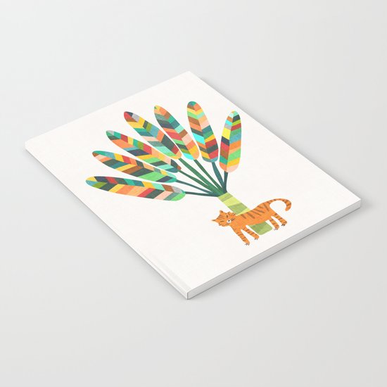 Whimsical travelers palm with tiger Notebook