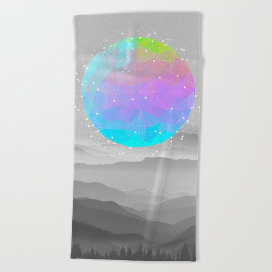 Worlds That Never Were (Geodesic Moon) Beach Towel