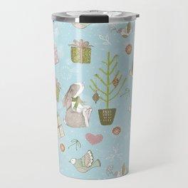 From Bunnies And Christmas - Cute teal X-Mas Pattern Travel Mug