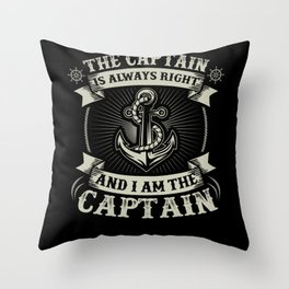 Captain Skipper Sailing Sailor Yacht Throw Pillow