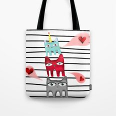 Cat Love Quote /  Striped black and white Tote Bag