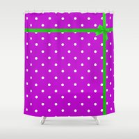 bow Shower Curtains featuring Green bow by I AmErika