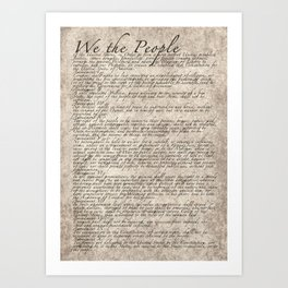 United States Bill of Rights (US Constitution) Art Print