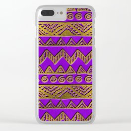 Ethnic  Golden Pattern  Swirl on Purple Leather Clear iPhone Case