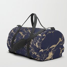Modern luxury chic navy blue gold marble pattern Duffle Bag