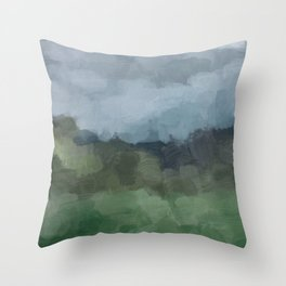 Blue Gray Stormy Clouds Grass Green Forest Abstract Nature Rustic Painting Art Print Wall Decor  Throw Pillow