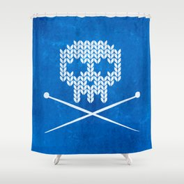 Knitted Skull / Knitting with Attitude (Black on Blue) Shower Curtain