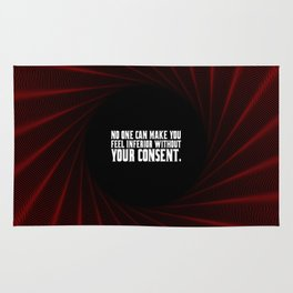 "No one can make you... ""Eleanor Roosevelt"" Inspirational Quote Rug"