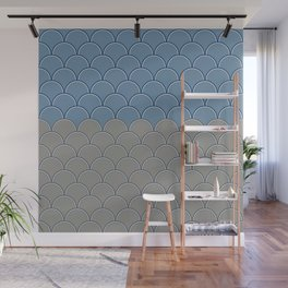 Geometric Circle Shapes Beachy Fish Scale Pattern in Blue and Gray Wall Mural