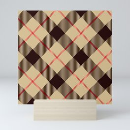 Tan Tartan with Diagonal Black and Red Stripes Mini Art Print