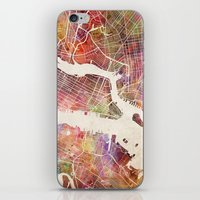new york map iPhone & iPod Skins featuring New York Map Watercolor by Map Map Maps