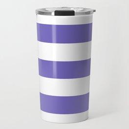 Blue-violet (Crayola) - solid color - white stripes pattern Travel Mug