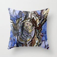 Two Owls and Two Crows Share One Tree Throw Pillow