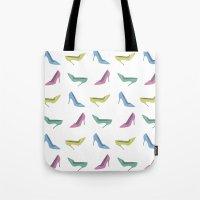 heels Tote Bags featuring high heels by Anastasiya Zhulina