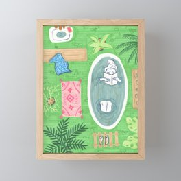 Green Tiled Bath drawing by Amanda Laurel Atkins Framed Mini Art Print