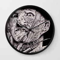 freddy krueger Wall Clocks featuring Freddy Krueger by Emz Illustration
