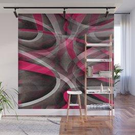 Eighties Rose Pink and Grey Funky Pattern Wall Mural