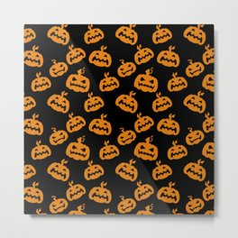 Abstract black bright orange halloween pumpkin pattern Metal Print