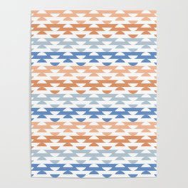 South Western Geometric Stripes in Classic Blues and Muted Oranges Poster