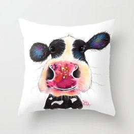 NoSeY CoW ' BuBBLeS ' BY SHiRLeY MacARTHuR Throw Pillow