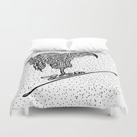 ski Duvet Covers featuring Ski Falcon by Launchpad Creations