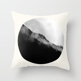 Mid Century Modern Round Circle Photo Black And White Misty Pine Trees Cliff Throw Pillow