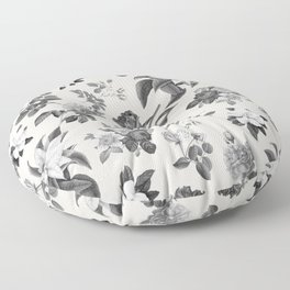 Vintage flowers on cream blackground Floor Pillow