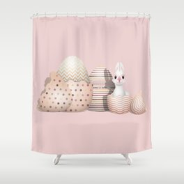 Kawaii Easter Bunny hatching from Golden Colored Easter Eggs - pink background Shower Curtain