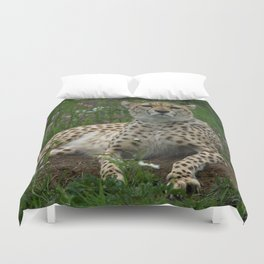 Cheetah Amidst Spring Flowers Duvet Cover