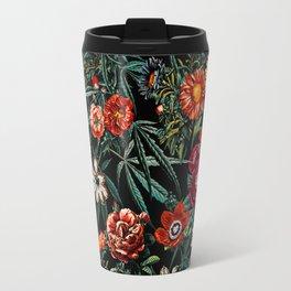 Marijuana and Floral Pattern Travel Mug