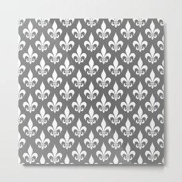 Fleur-de-Lis: Grey Metal Print