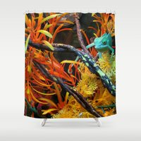 chameleon Shower Curtains featuring Chameleon by Geni