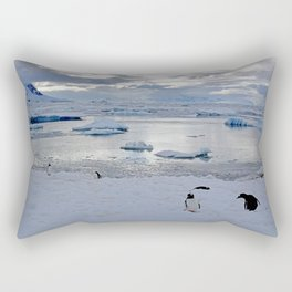 Gentoo Penguins on Ice Rectangular Pillow