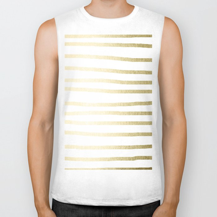Simply Drawn Stripes Gilded Palace Gold Biker Tank