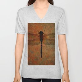 Dragonfly On Orange and Green Background Unisex V-Neck