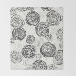 Pile of Black Roses Throw Blanket