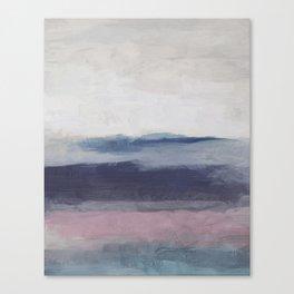 Plum Purple Navy Lavender Blue Abstract Painting Wall Art Prints, Ocean Waves Horizon, Modern Wall Canvas Print