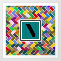 monogram Art Prints featuring N Monogram  by mailboxdisco